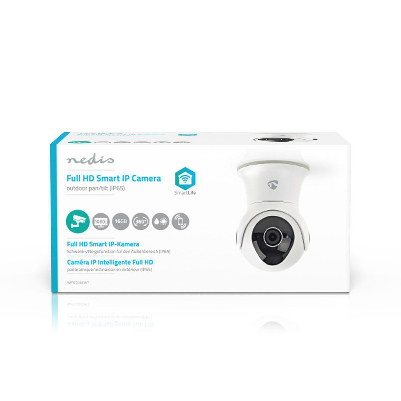 Nedis Wi-Fi smart IP-camera Draaien / Kantelen Full-HD 1080p Buiten Waterbestendig