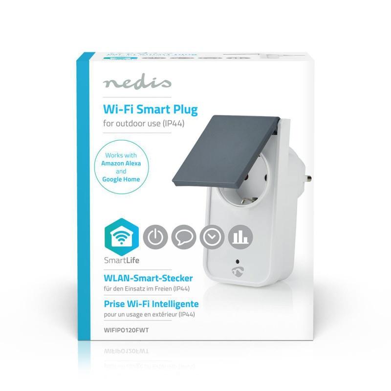 Nedis  Wi-Fi Smart Stekker voor Buiten Spatwaterbestendig IP44  Verbruiksmonitor Schuko Type F 16 A