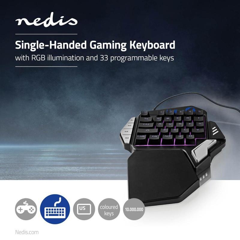 Single-Handed Gamingkeyboard RGB-Verlichting 33 Programmeerbare Toetsen