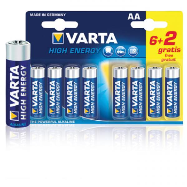 Batterij Alkaline AA 8 stuks VARTA