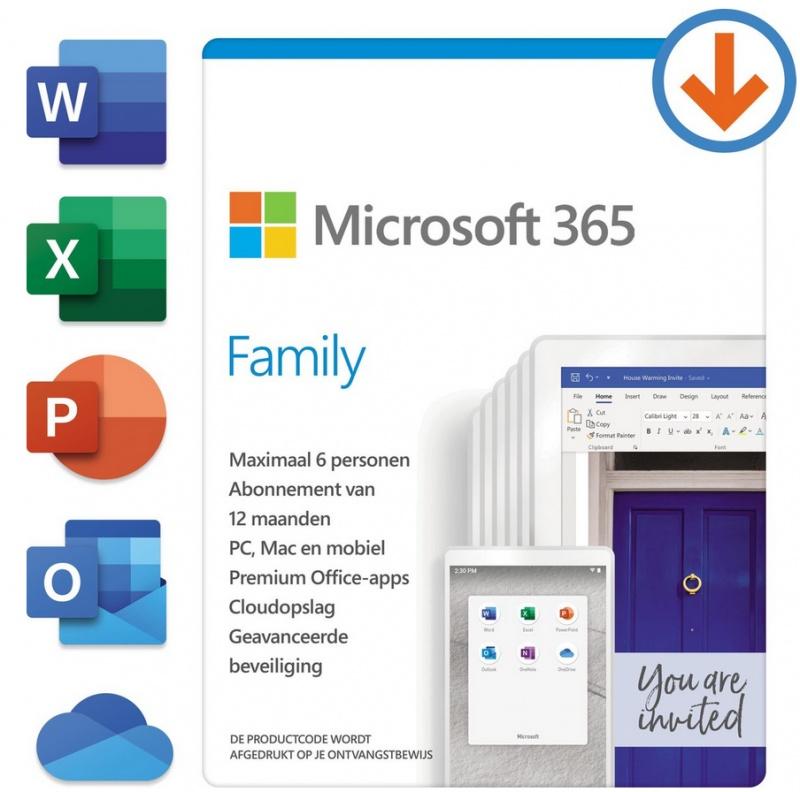 Microsoft 365 Family – Nederlands – 1 jaar abonnement