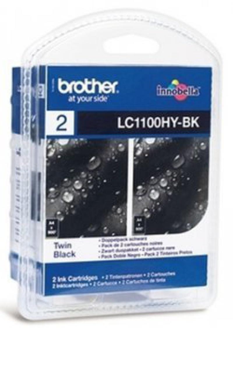 Brother LC-1100HYBKBP2DR inktcartridge Origineel Zwart 2 stuk(s)