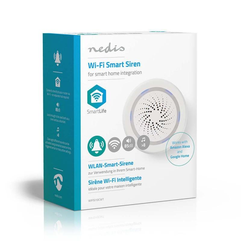 Nedis Wi-Fi smart sirene Alarm of Gong 85 dB