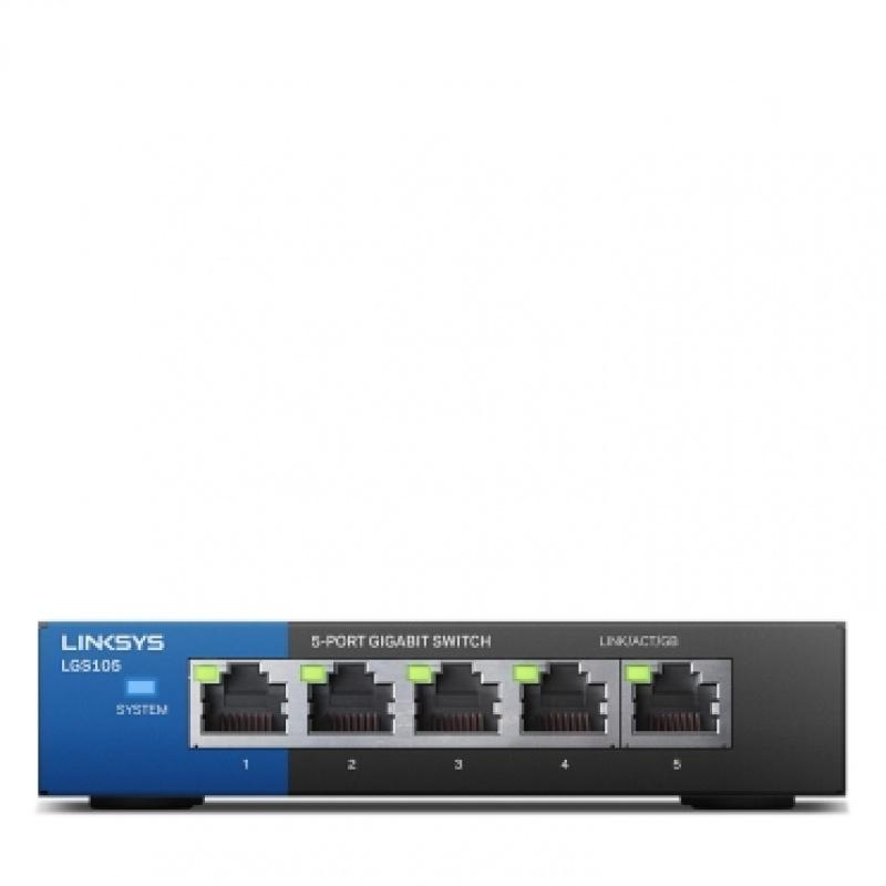 Linksys LGS105 Unmanaged Gigabit Ethernet (10 / 100 / 1000) Zwart, Blauw